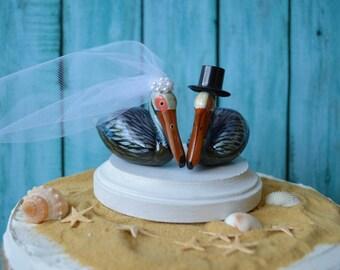 Pelican-beach-wedding-cake topper-destination wedding-beach wedding-bride-groom-Mr and Mrs-pelicans-starfish-seashells-decor-tropical