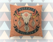 Buffalo Soldier Throw Pillow | Heritage | Native Indian Inspired | Southwest Home Decor Indoor or  Available