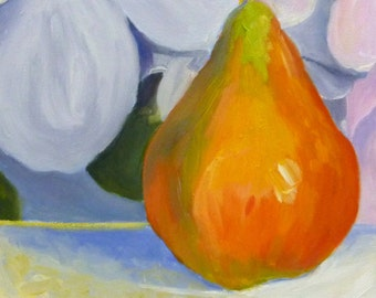 Original Still Life Oil Painting Colorful Pear