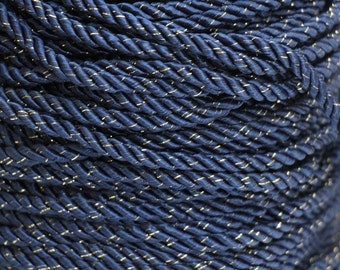 Vintage Navy & gold twisted trim rope