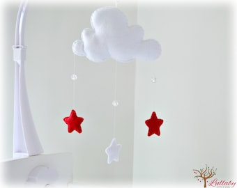 Star mobile - cloud mobile - white and red - baby mobile - nursery decor - MADE TO ORDER