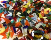 CLEARANCE - 50 MIXED TRIANGLES Tiny Size Stained Glass Tile Supply