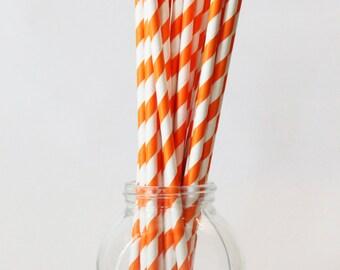 Orange Straws Orange Themed Birthday Party Orange Party Supplies Orange Stripe Paper Straws Orange Drinking Straws Tangerine / Set of 20