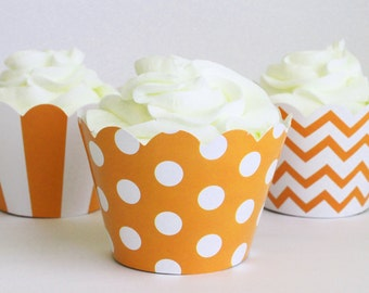 Orange Cupcake Wrappers Polka Dot Chevron Stripe Cupcake Liners Cupcake Birthday Party Orange Party Supplies Halloween Cupcake / Set of 12