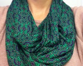 Green and Purple Baroque Square Jersey Knit Infinity Scarf