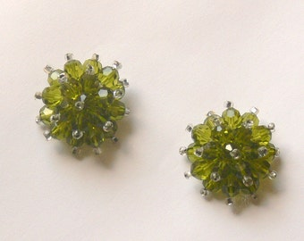green glass  clip earrings