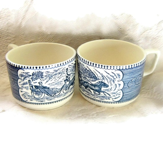 2  Blue White Currier and Ives Rare Coffee Soup Chili Mugs Him and Her Collectable Home Decor Housewares Serving
