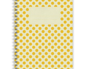Notebook A5 - Yellow Polka Dots Pattern
