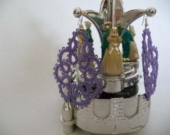 Tatting earrings wood violet - handmade jewelry - lace earrings - Bridesmaid - Wedding -gift for birthday
