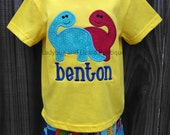 Boy's Double Dinosaur Buds Top with Monogram and Dinosaur Print Shorts Outfit Sizes 12M-18M, 2T-5T