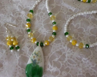 Fused Glass Pendant ,  Yellow, Green andWhite  Beaded  Necklace Bracelet and Earrings