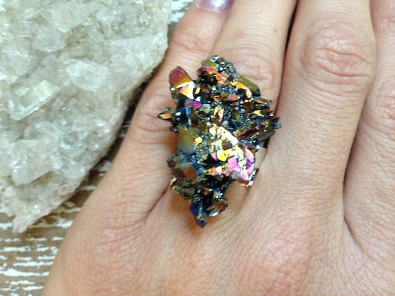 ASTRAL / Galaxy Raw Rainbow Titanium Aura Druzy Quartz Crystal Cluster Gemstone Statement Ring - Summer, Boho, Gypsy, Festival, Fashion