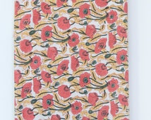SALE - Floral Red Tablecloth, Tablecloth Red Yellow Green  Poppy Tablecloth 120x70 inch