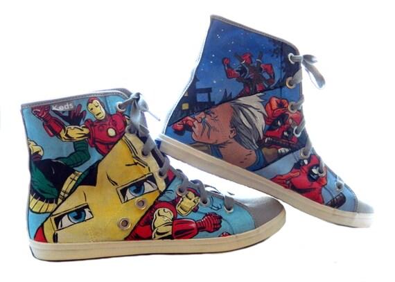 Comic Book Strip Super Hero Painted Hi-Top Canvas Sneakers (Complex)