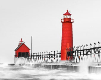 Photograph print - Black and White with Red - Michigan Lake Red Light House