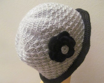 Women Hat With Flower In Gray And Black, Cloche Women Hat