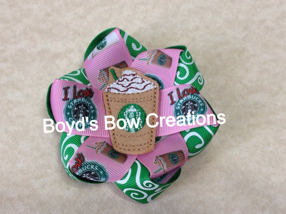 Starbucks felt twisted flower loop bow