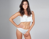 White Custom Made Bikini Swimsuit in Embossed Floral Jersey