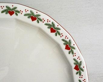 "Porsgrund Hearts & Pines Chop Plate, 12"" Round Platter, Multisided Octavia, Christmas Platter, Christmas China"