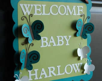 Butterfly Door Sign, Butterfly Baby Shower, Butterfly Welcome Sign, Butterfly Birthday Party, Butterfly Party Decorations,