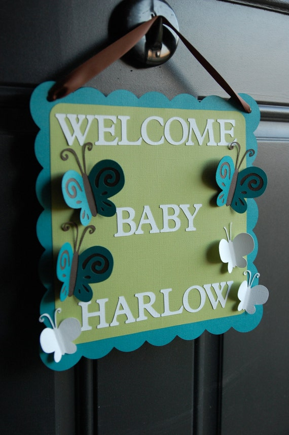 Butterfly door sign butterfly baby shower butterfly for Baby welcome party decoration ideas