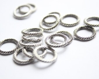 30Pcs 13mm Antique Silver Metal Charms Antique Silver Findings-Circle Loop (3619)