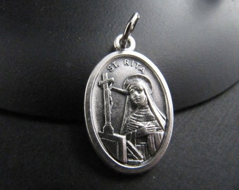 Italian Made Traditional Catholic Saint Rita Medal - Patron Saint of Mothers, Lost Causes, Sickness, Wounds, Marital Problems