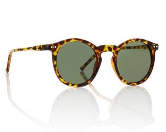 OMalley Round Tortoise Sunglasses - Green Lens X American Deadstock