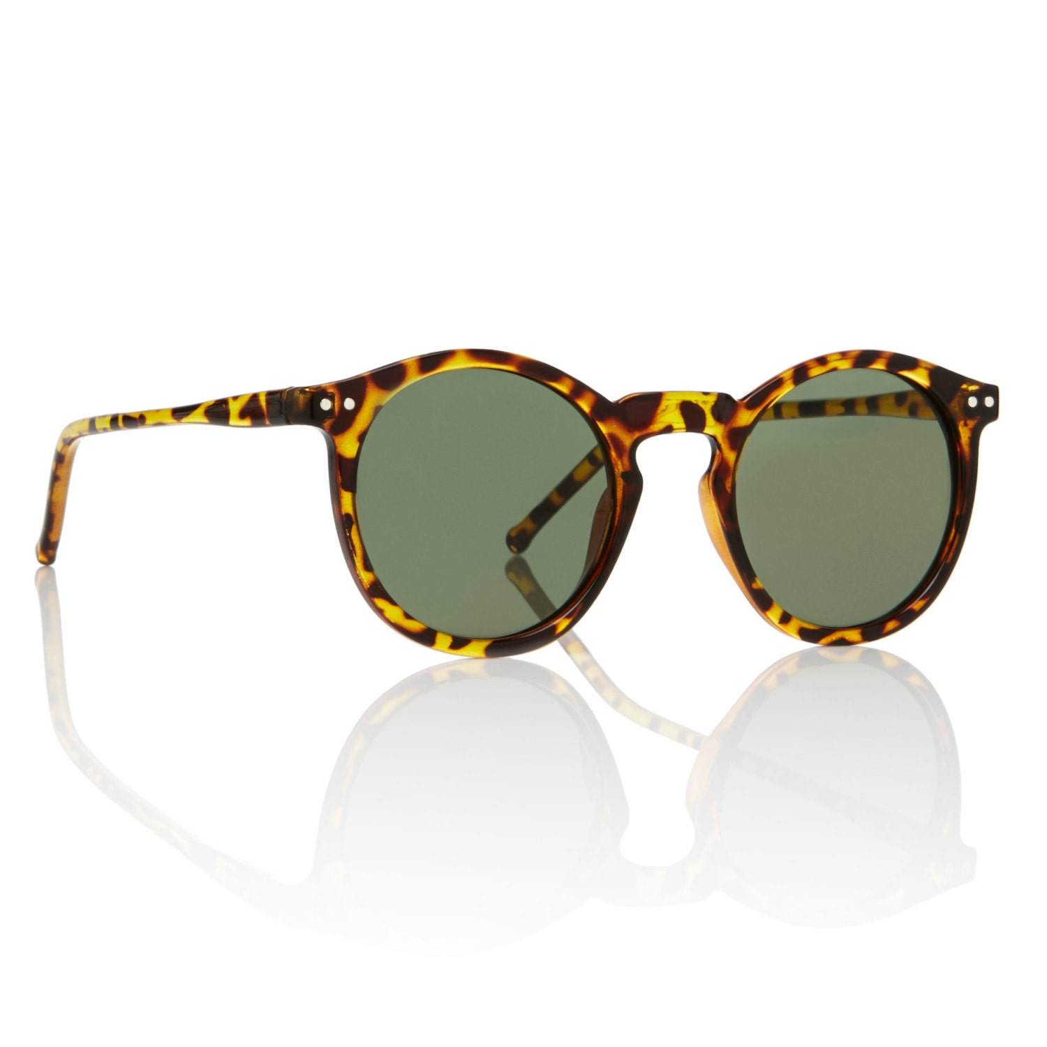 O Malley Sunglasses Tortoise Round Frame Forest Green Lens ...