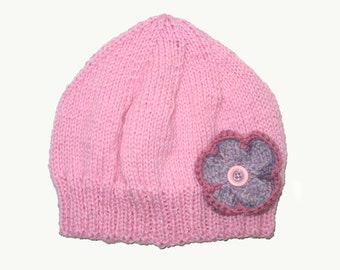 SALE - Girls Retro HANDMADE Pink Knitted Wool Beanie Hat with Flower & Buttons . Gift Idea . Size - Age: 4 5 6 7 8 9 10 . Made in Australia