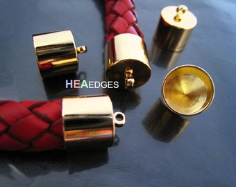 Finding - 20 pcs Gold Leather Cord Ends Cap with Loop For Round Leathers 14mm x 11mm ( inside 10mm Diameter )