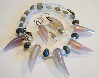 Sharks Tooth Agate Labradorite and Moonstone Necklace and Earrings Set Handmade