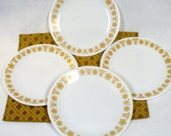 4 Dinner Plates Butterfly Gold Vintage Corelle Corning Ware Mod Retro 1970 Four Plates