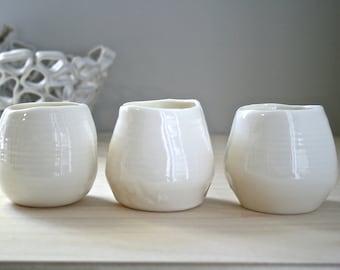 Candleholders,translucent  porcelain, natural shaped, handmade, set of 3, minimal rustic home decor.