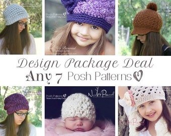 Crochet Patterns - Knitting Patterns - Discount Design Pattern Package - Choose ANY 7 - Knitting Patterns for Babies - Crochet Pattern Hat