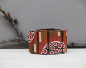Statement Wood Bracelet Red  Black Pink