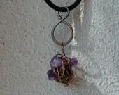 Purple Amethyst Fluorite Cluster Bead Brass Wire Wrap Swirl Soft Velvet Necklace