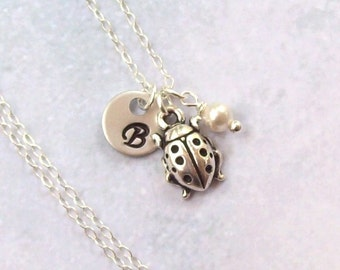 Silver Lady Bug Necklace, Personalized Necklace, sterling silver, initial, hand stamped, summer, ladybug, insect, garden