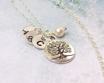 Tree of Life Necklace, Family Tree Necklace, Mothers Necklace, Personalized Necklace, Silver Tree, sterling, stamped, sisters, initial