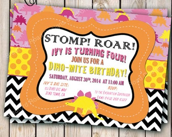 Pink Dinosaur Invitation Girl Dinosaur Birthday Party Dino Dig Dino-mite Birthday Invitation Customizable 5x7 Pink Orange