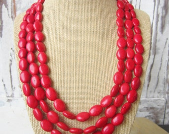 Red Turquoise Statement Necklace. Red Triple Strand Necklace. Adjustable Bib Necklace. Red Jewelry. Bridesmaid Jewelry. Red Wedding