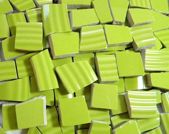 LIME Green - Solid Color Stoneware Mosaic Tiles - Recycled Plates - 100 Tiles