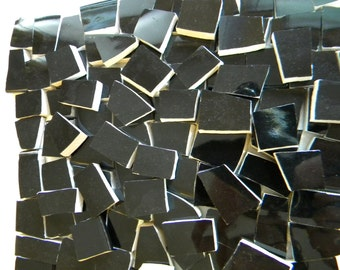 Mosaic Tiles - Glossy Solid BLACK - Recycled Plates - 100 Tiles