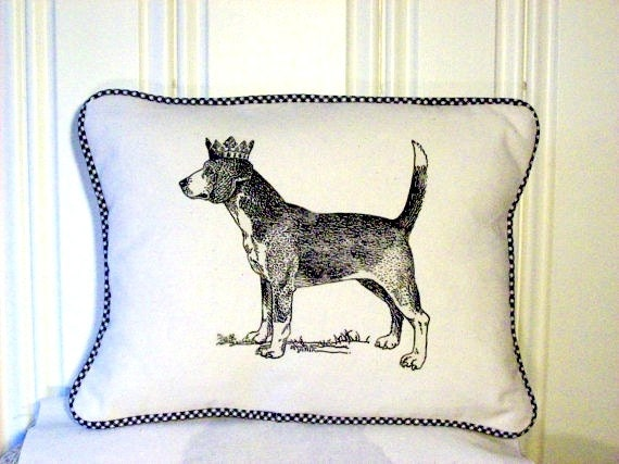 "shabby chic, feed sack, french country, vintage beagle graphic with gingham  welting 12"" x 16"" pillow sham."