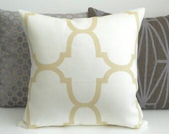 Designer pillow cover, Windsor Smith Riad, Ivory quatrefoil, tan trellis