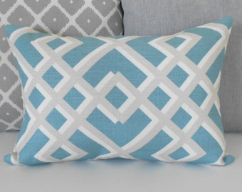 Teal and gray geometric trellis decorative pillow cover