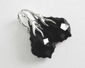 Black Earrings, Sterling Silver Dangle Earrings, Baroque Elegant Drop Earrings