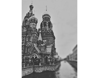 Saint Petersburg photograph - travel photography - St Petersburg Russia photograph - black and white - onion dome - church on spilt blood