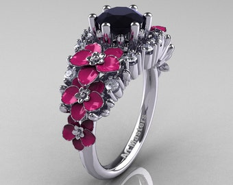Nature Classic 14K White Gold 1.0 Ct Black and White Diamond Pink Orchid Engagement Ring R604-14KWGDPBD