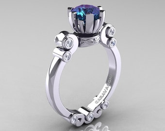 Caravaggio 14K White Gold 1.0 Ct Alexandrite Diamond Solitaire Engagement Ring R607-14KWGDAL